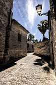 pic of baeza  - typical narrow street of the Imperial Spain of the XVIIth century where of rodo the movie of Alatriste of the Spanish director Agust - JPG