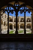 Lisbon, Portugal - June 30, 2013: Manueline cloister of Jeronimos monastery in Lisbon, Portugal. Classified as UNESCO World Heritage it stands as a masterpiece of the Manueline art.