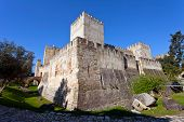 Lisbon, Portugal - February 01, 2013: Sao Jorge (St. George) Castle in Lisbon, Portugal. The keep (c