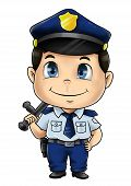 stock photo of chibi  - Cute cartoon illustration of a policeman isolated on white - JPG