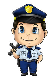 foto of chibi  - Cute cartoon illustration of a policeman isolated on white - JPG