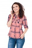 Student girl talking on cell phone on white background
