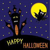 Haunted House And Bat. Starry Sky And Moon. Happy Halloween Card