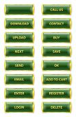 Green And Golden Rectangle Glossy Internet Buttons