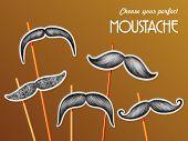 Mustache hand drawn barber shop sticker set