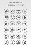 Ecology flat material design concept with ecology environment green energy vector icons set