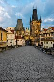view on the Prague,Lesser Bridge Tower ,Charles bridge,( Karluv Most)