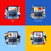 Modern Flat Vector Concepts Of Seo, Web Design, E-business, Social Media. Design Elements