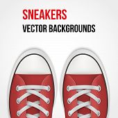 Background of simple red sneakers. Realistic Vector Illustration.