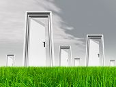 High resolution green, fresh and natural 3d conceptual grass over a gray sky background, a opened do