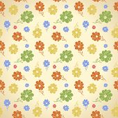 Vector flower pattern. Seamless background. Green yellow blue red wallpaper