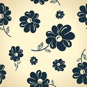 Vintage black flowers. Seamless background wallpaper