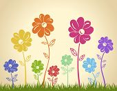 Colorful flowers on the grass. Vector background. Green yellow blue red illustration