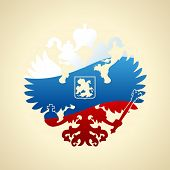 Russian coat of arms double-headed eagle. Symbol of imperial Russia flag isolated
