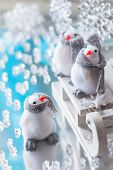 Christmas sleigh with funny penguins