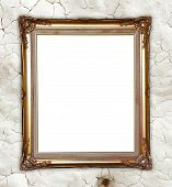 Golden Frame On Whtie Cement Wall Background