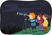 Illustration Featuring Kids Stargazing