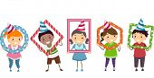 Illustration Featuring Kids Holding Frames of Different Shapes