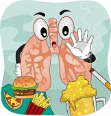 Mascot Illustration Featuring a Pair of Lungs Saying No to Vices