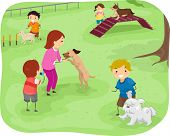 Illustration Featuring a Group of Children Training Their Dogs to Perform Agility Tests