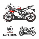 Sport superbike with helmet.