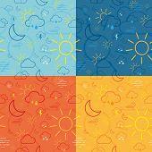 Four Weather Icon Pattern Tiles