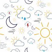 Weather Icon Seamless Pattern Tile