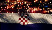 Croatia National Flag Light Night Bokeh Abstract Background