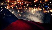 Czech Republic National Flag Light Night Bokeh Abstract Background