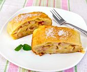 Strudel With Pears On Tablecloth