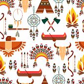 Seamless Pattern American Tribal Native Symbols