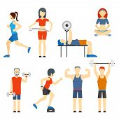 picture of lifting weight  - Set of colored vector icons of people exercising at the gym and fitness icons with weight lifting  bodybuilding  running  jogging  yoga and weight loss measurement - JPG