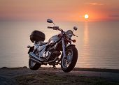 Ferrol, Spain - August 03 Motorcycle Kymco Venox 250 Photographed In A Sunset, In Ferrol, Spain, On