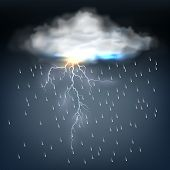 stock photo of lightning  - Cloud with rain and a lightning bolt in a discharge of electrical energy during a thunderstorm in a dark threatening sky  vector illustration - JPG