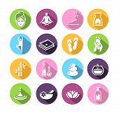 Icons representing wellness, spa, relaxation and healthy lifestyle.