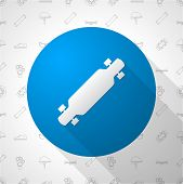 Flat circle vector icon for longboard