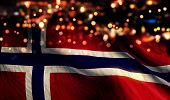Norway National Flag Light Night Bokeh Abstract Background