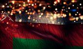 Oman National Flag Light Night Bokeh Abstract Background
