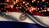 Paraguay National Flag Light Night Bokeh Abstract Background