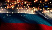 Russia National Flag Light Night Bokeh Abstract Background