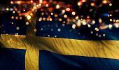 Sweden National Flag Light Night Bokeh Abstract Background