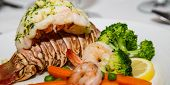 Lobster Tail With Shrimp And Broccoli