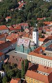 ZAGREB, CROATIA - SEMPTEMBER 20: Zagreb Panorama with Church of St Mark in Zagreb, Croatia on Septem