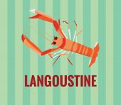 Langoustine - vector drawing on green background.