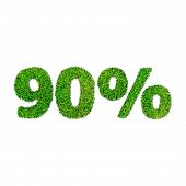 Ninety Percent Discount Icon. Green Grass Numerals Isolated On White
