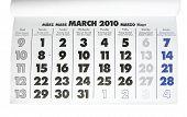 Folha de calendário - março de 2010
