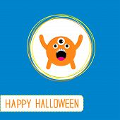 Cute Cartoon Orange Monster. Orange Background. Happy Halloween
