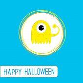 Cute Cartoon Yellow Monster. Blue Background. Happy Halloween Ca