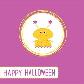 Cute Cartoon Yellow Monster Girl. Violet Background. Happy Hallo