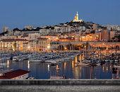 Marseille cityscape with famous landmark Notre Dame de la Garde church, France.